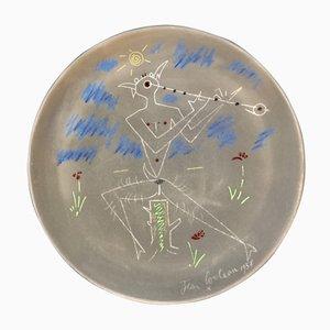 Plat Poterie en Terracotta avec Décor Faune Musicien par Jean Cocteau, 1958