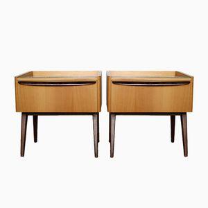 Veneered Bedside Tables, 1950s, Set of 2