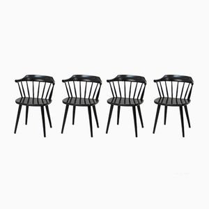 Mid-Century FH01 Black Chairs by Yngve Ekström for Pastoe, Set of 4