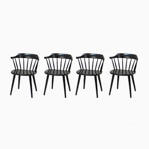 Schwarze Mid-Century FH01 Stühle von Yngve Ekström für Pastoe, 4er Set