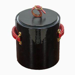 Schwarz & rot lackierter Eiskübel aus Vinyl von Morgan & Company, 1970er