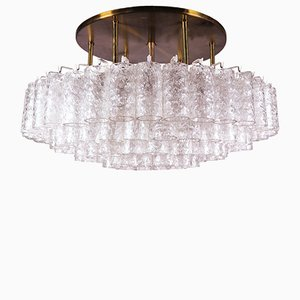 Large Flush Mount Chandelier with Murano Glass Tubes from Doria, 1960s