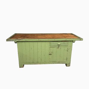 Vintage Double Sided Green Industrial Workbench