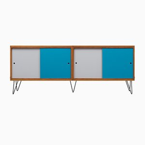 Walnut Sideboard with Colored Doors, 1960s