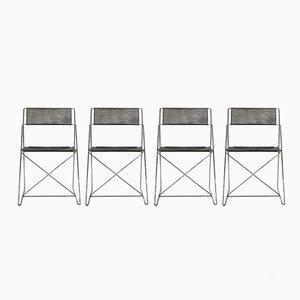 X Line Chairs by Niels Jørgen Haugesen for Hybodan, 1970s, Set of 4