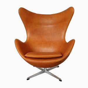 Egg Chair in Leather by Arne Jacobsen for Fritz Hansen