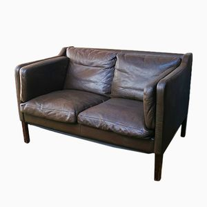 Dänisches 2-Sitzer Leder Sofa, 1970er