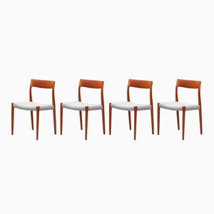 Danish No. 77 Teak Dining Chairs by Niels O. Møller, 1960s, Set of 4