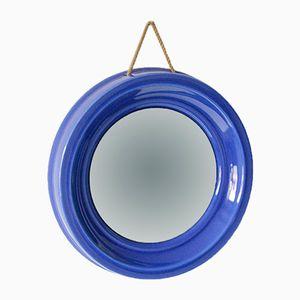 Kleiner runder Spiegel mit Keramik Rahmen von SMF Schramberg, 1970er