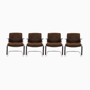 Mid-Century Sessel aus verchromtem Stahl & Baumwolle von Steelcase, 1980er, 4er Set
