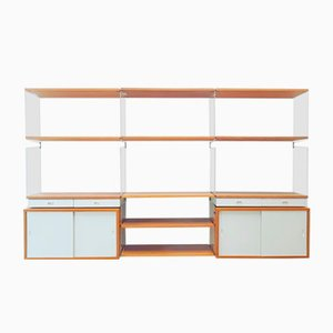 "Perspex & Oak Modular Wall Unit by Kajsa & Nils ""Nisse"" Strinning for String, 1950s"