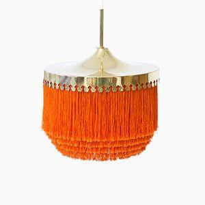 Brass & Silk Fringes Pendant Lamp by Hans-Agne Jakobsson, 1960s
