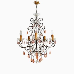 Crystal Chandelier with Murano Drops, 1950s
