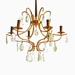 Crystal Brass Chandelier with Green Murano Drops, 1950s