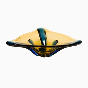Large Glass Pizzicato Bowl by Hana Machovska for Mstisov, 1950s