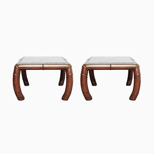 Faux Bamboo & Grey Marble Side Tables, 1970s, Set of 2