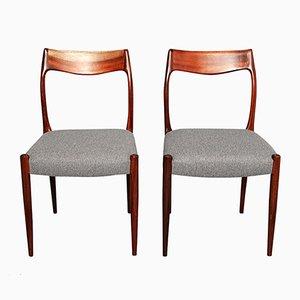 Palisander Beistellstühle von N.O. Møller, 1950er, 2er Set