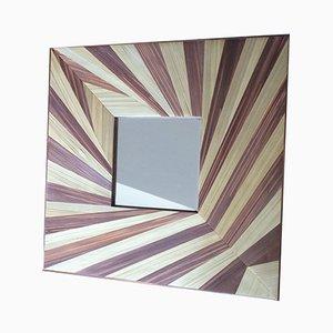 Spiegel in Blatt Optik mit Stroh Einlegearbeiten von Violeta Galan