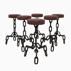 Industrial Brutalist Metal Anchor Chain Barstools, Set of 6