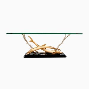 Mid-Century Coffee Table with Silvered Brass Fish by Franco Lafini
