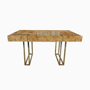 Elm and Brass Desk by Jean Claude Mahey, 1970s