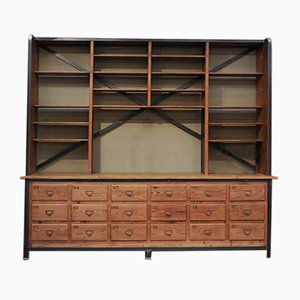 2-Part Industrial Fir Wall Unit, 1930s
