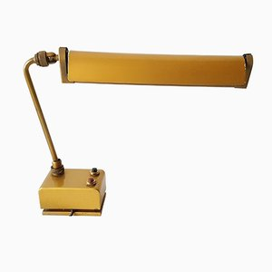 French Golden-Lacquered Steel Workshop Lamp from Mazda, 1950s