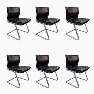 Italienische Stahl und Leder Stühle, 1960er, 6er Set