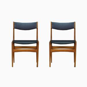 Vintage Chairs in Teak Veneer & Eco Leather, Set of 2