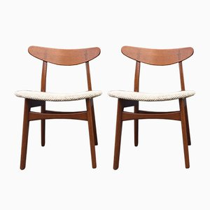 CH-30 Chairs in Teak by Hans J. Wegner for Carl Hansen & Son, 1950s, Set of 2