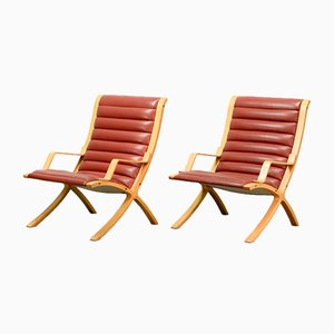 Mid-Century Danish High Back AX Lounge Chairs by Hvidt and Molgaard Nielsen for Fritz Hansen, Set of 2