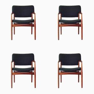 Model 4205 Armchairs by Ejnar Larsen & Aksel Bender for Fritz Hansen, 1950s, Set of 4