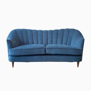 Vintage French Blue Velvet Sofa