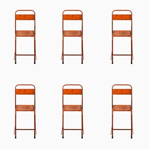 Bright Orange Metal Chairs, 1950s, Set of 6