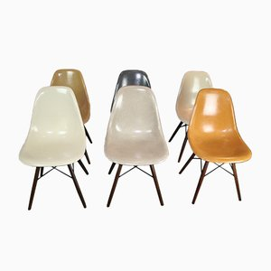 Vintage DSW Fiberglass Chairs by Charles & Ray Eames for Herman Miller, Set of 6