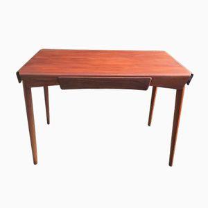 Teak Veneer Bent Plywood Table with Drawer, 1950s