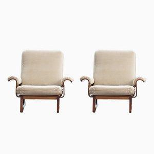 Mid-Century Italian Molded Wood Armchairs, Set of 2