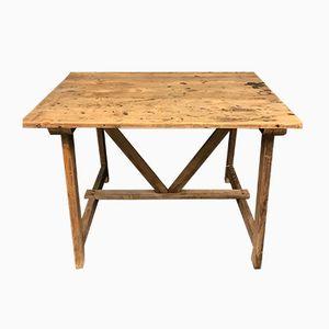 Banco da lavoro quadrato vintage in legno