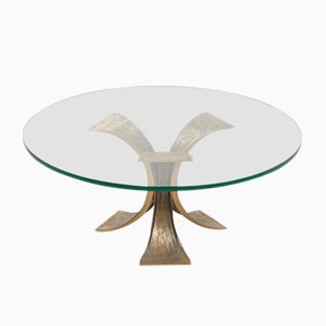 Brutalistischer Glas Tisch mit Untergestell aus bronzenem Stahl, 1970er
