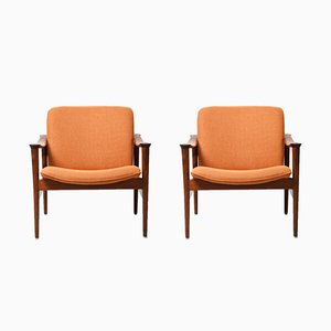 Model 711 Rosewood Armchairs by Fredrik A. Kayser for Vatne Lenestolfabrikk, 1950s, Set of 2