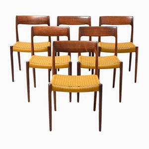 Model 77 Rosewood Dining Chairs by Niels Otto Møller for J.L. Møllers, 1950s, Set of 6