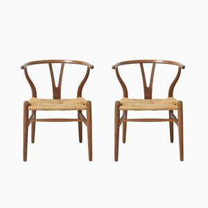 Mid-Century Model CH24 Oak Wishbone Chairs by Hans J. Wegner for Carl Hansen, Set of 2