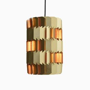 Lampe à Suspension Facet-Pop Vintage Doré et Orange par Louis Weisdorf pour Lyfa
