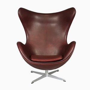 Egg Chair aus Leder von Arne Jacobsen für Fritz Hansen, 1965