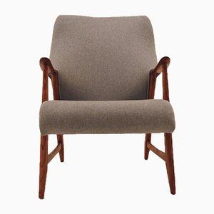 Norwegian Grey Wool & Oak Armchair, 1950s