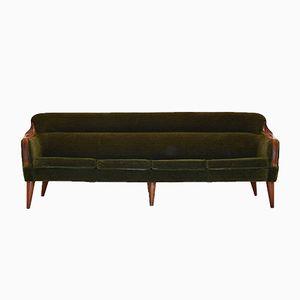 Norwegisches 4-Sitzer Sofa aus grünem Veloursstoff und Teak, 1960er