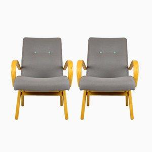 Mid-Century Grey & Pastels Armchairs, 1960s, Set of 2
