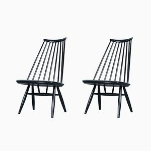 Schwarze Mademoiselle Stühle von Imari Tapiovaara für Asko, 1950er, 2er Set