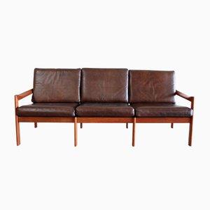 Vintage Leder Sofa von Illum Wikkelsø für Eilersen