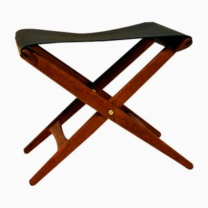 203 Taburet in Oak and Leather by Östen Kristiansson for Luxus, 1950s